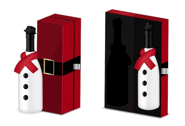 Mock up realistic wine bottle for christmas party