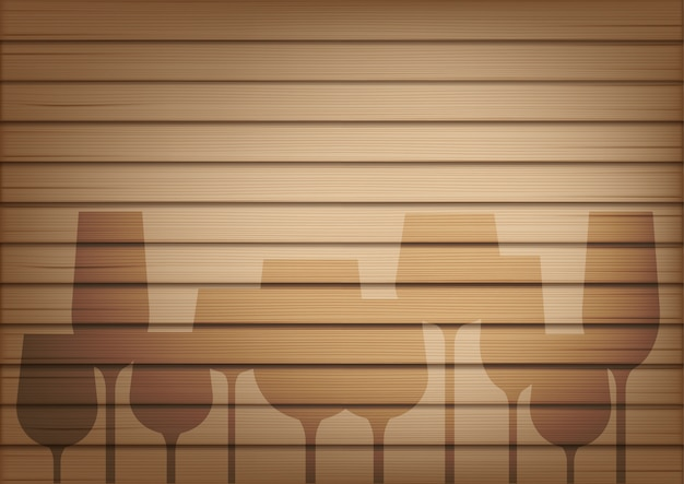 Mock up realistic wood and wine glass shadow