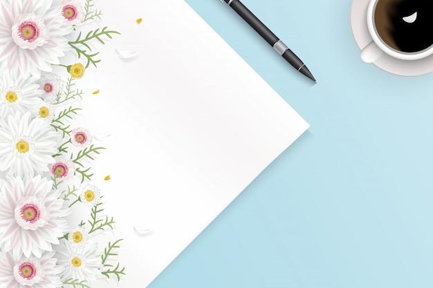 Макет иллюстрации сцены с чистым листом бумаги