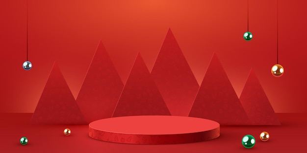 Mock up scene podium for cosmetic and product display stage pedestal or platform winter christmas re...