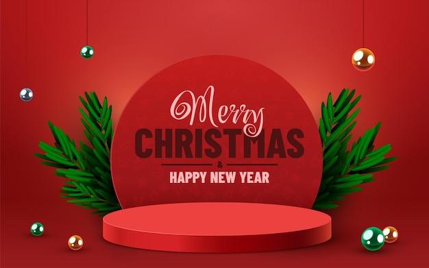 Mock up scene podium product presentation pedestal or platform winter christmas red background