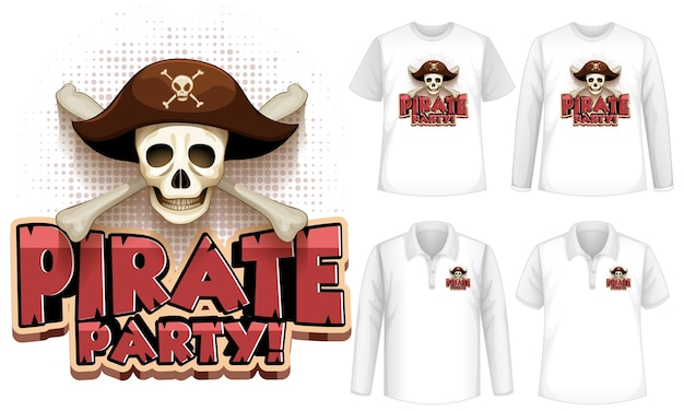 Mock up shirt with pirate party icon
