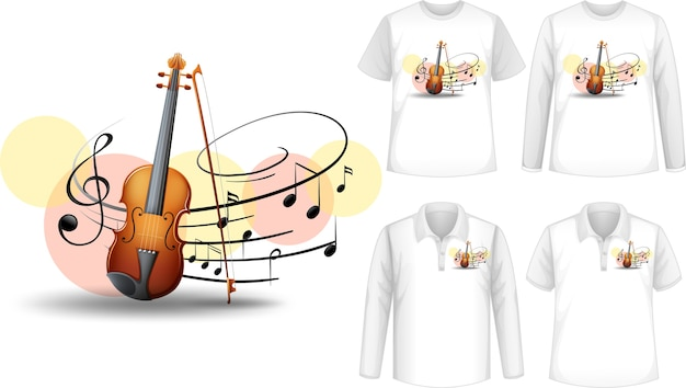 Mock up shirt with violin music instruments logo