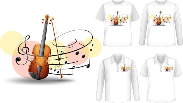 바이올린 음악 악기 로고가있는 셔츠 모의
