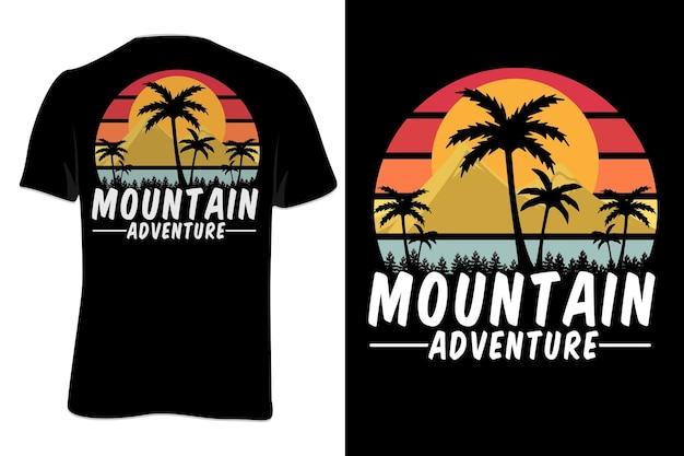 Mock up t-shirt mountain adventure retro 빈티지 스타일