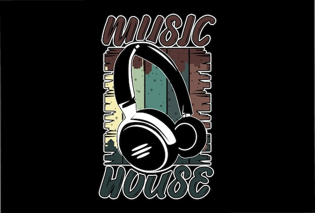モックアップtシャツミュージックハウスレトロヴィンテージスタイル