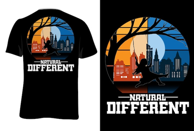 Mock up t-shirt natural different retro vintage style
