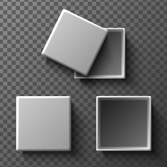 덮개가 있거나없는 흰색 상자를 조롱하십시오. 투명 한 배경에서 고립 된 그림 아이콘입니다. 평면도.