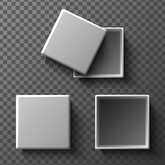 Mock up white boxes with and without cover. isolated illustration icon on transparent background. top view.