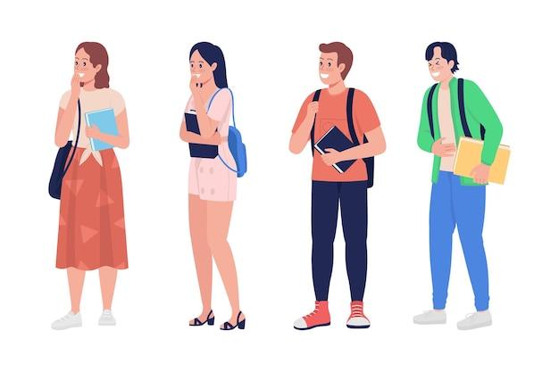 笑うティーンエイジャーのセミフラットカラーベクトル文字セットをあざける。立ち姿。白の全身の人々。十代の若者たちは、グラフィックデザインとアニメーションパックのモダンな漫画スタイルのイラストを分離しました