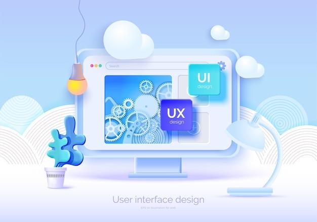 웹 디자인을 위한 사용자 인터페이스 요소가 있는 모형 3d 모니터 소프트웨어 작성자 사용자 인터페이스 사용자 경험 디자인 ui ux 웹 개발 벡터 일러스트레이션 3d 스타일을 만들기 위한 도구 세트