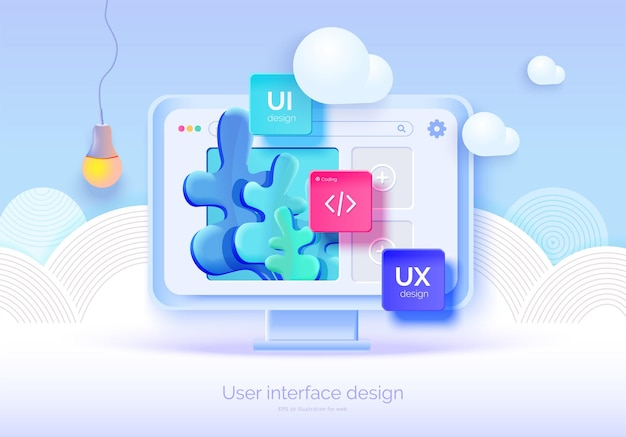 Mockup 3d monitor with user interface elements for web design software creator