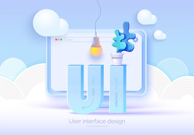 Mockup 3d monitor with user interface elements for web design software creator Premium Vector