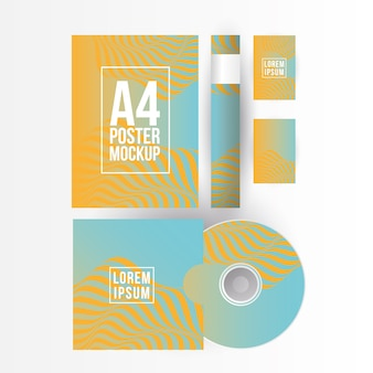 Mockup a4 poster paper cd and cards design of corporate identity template and branding theme