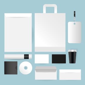 Мокап сумка cd и конверты дизайн шаблона фирменного стиля и темы брендинга