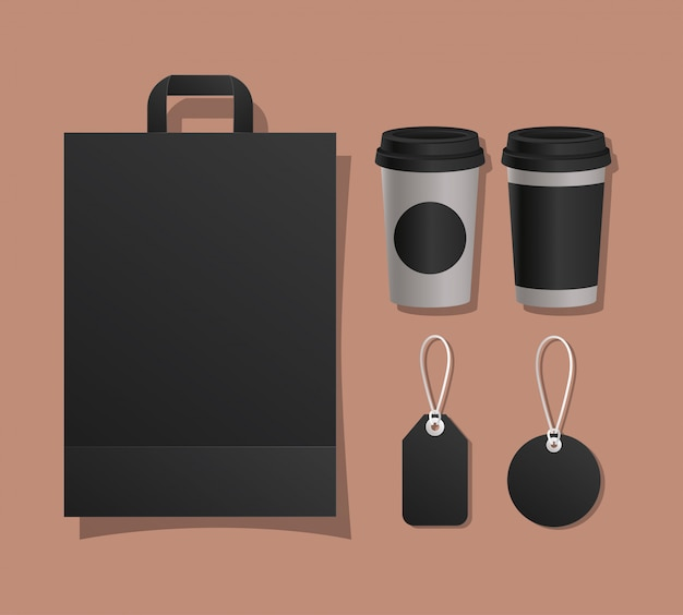 Mockup bag mugs and labels