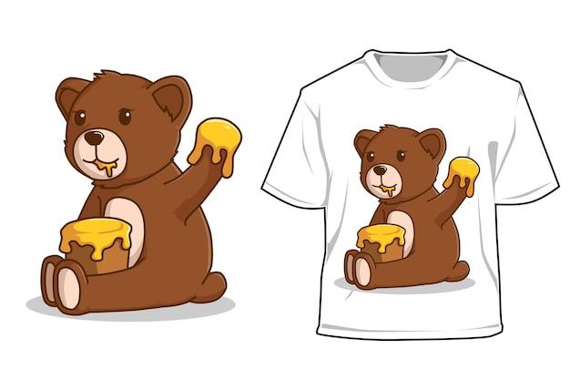 Мокап медведь ест мед