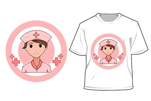 Mockup beautiful nurse cartoon illustration