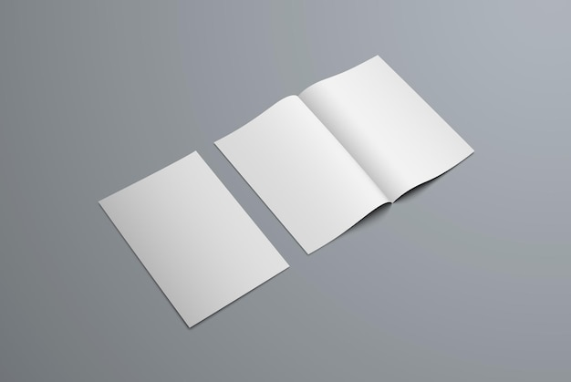 Mockup bi-fold brochure isolated on background. open and closed catalog template for design presentation.