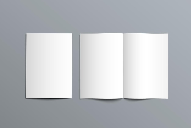 Mockup bi-fold catalog for the presentation of the design. template of open and closed brochure isolated on background.