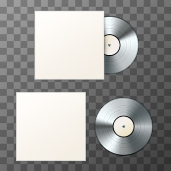 Mockup of blank platinum album vinyl disc with cover
