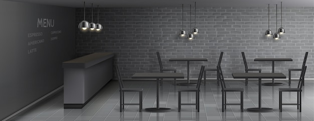 Mockup of cafe interior with empty bar counter, dinner tables and chairs, ceiling lamps