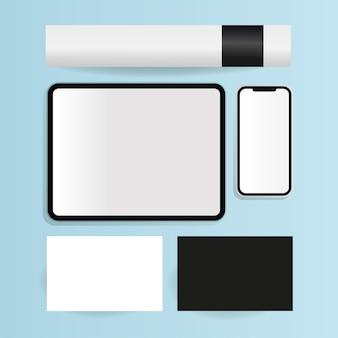 기업의 정체성 템플릿 및 브랜딩 테마의 모형 카드 태블릿 및 스마트 폰 디자인