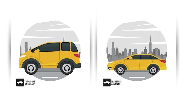 Изолированный желтый цвет автомобилей макета.