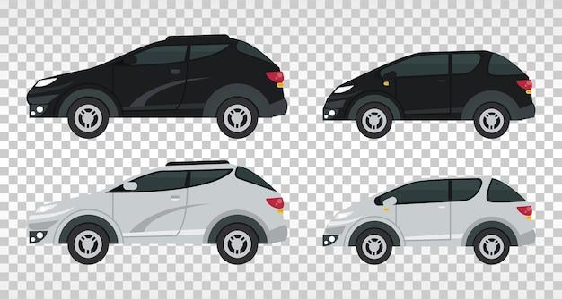 Изолированные макет автомобилей цвета черный и белый.