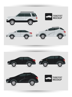 Mockup cars colors black and white isolated.