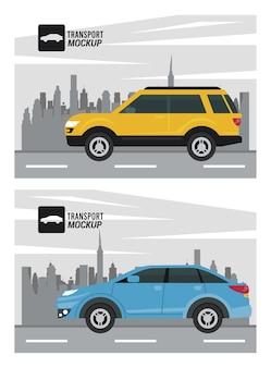 Изолированные макет автомобилей цвета синий и желтый.