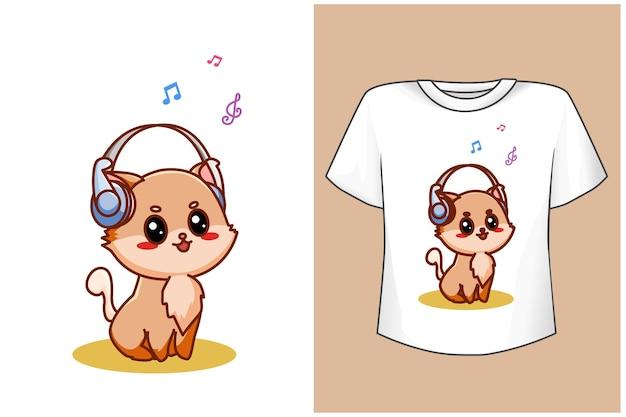 Mockup cartoon cat with music