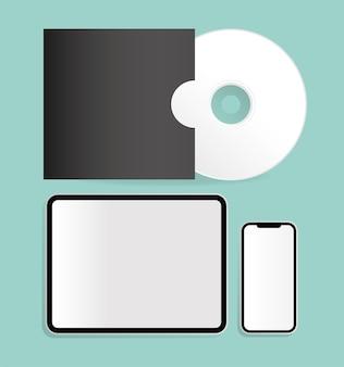 Макет cd-планшета и смартфона, дизайн шаблона фирменного стиля и темы брендинга