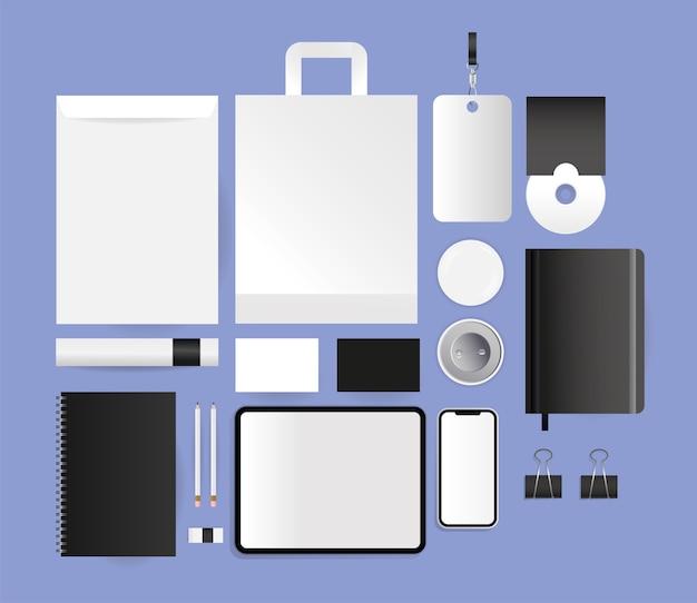 Мокап cd-планшета конверты сумка и смартфон дизайн шаблона фирменного стиля и темы брендинга