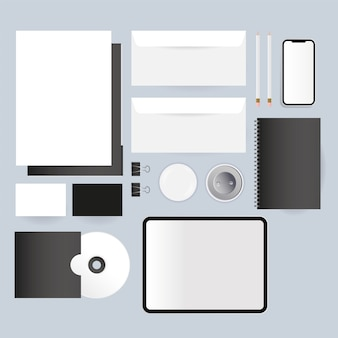 Mockup cd tablet envelopes and smartphone design of corporate identity template and branding theme
