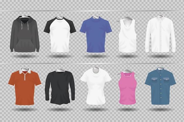 モックアップ服ぶら下げアイコンコレクションデザインの布コーポレートアイデンティティウェアとショッピングテーマベクトルイラスト