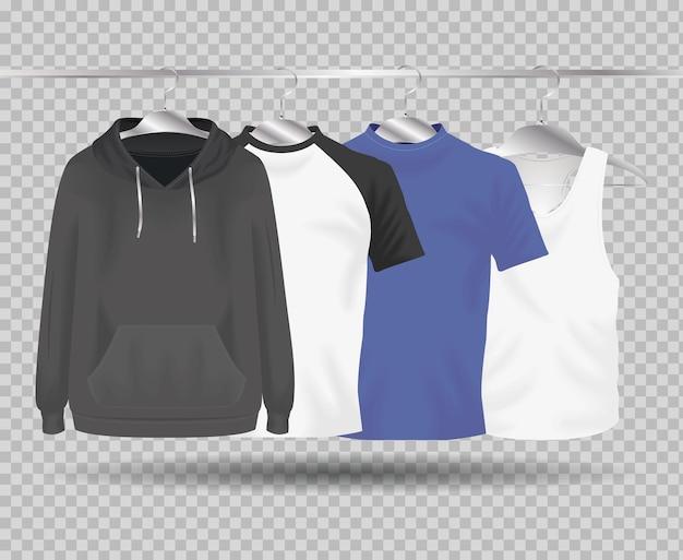 モックアップ服ぶら下げ布のセットデザインコーポレートアイデンティティウェアとショッピングテーマベクトルイラスト