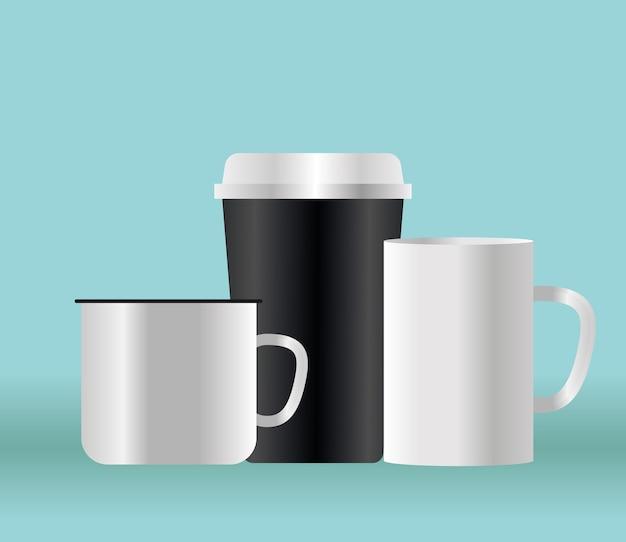 기업의 정체성 템플릿 및 브랜딩 테마의 모형 커피 머그잔 디자인
