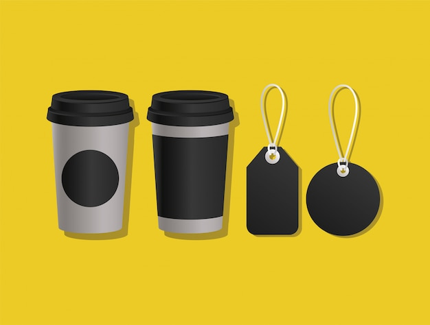 Mockup coffee mugs and labels