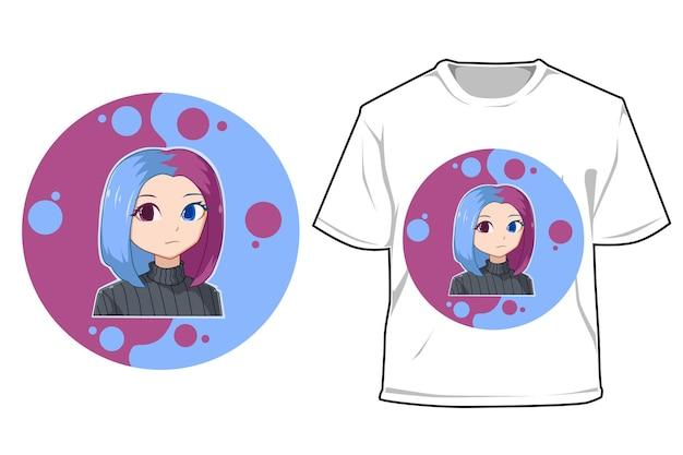 Макет цветные волосы девушка мультфильм