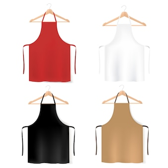Mockup colorful aprons collection