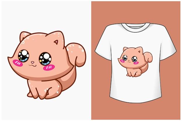 キュートで幸せな猫の漫画イラストのモックアップ