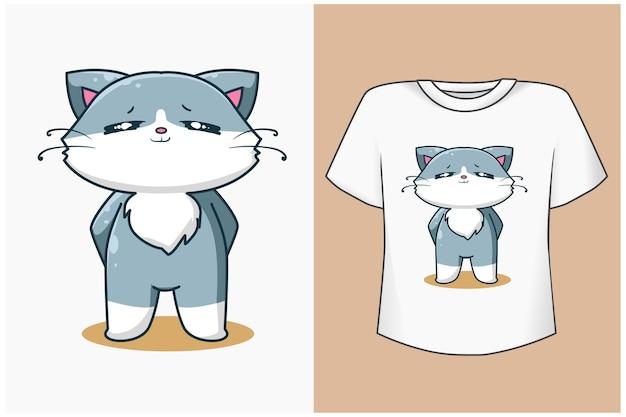 Mockup cute and fat cat cartoon illustration