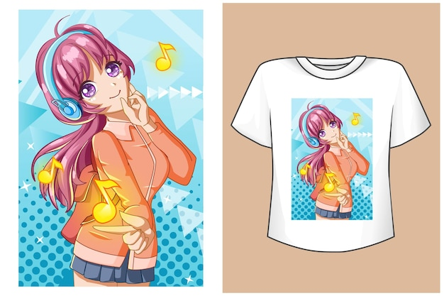 Mockup cute girl with music notes