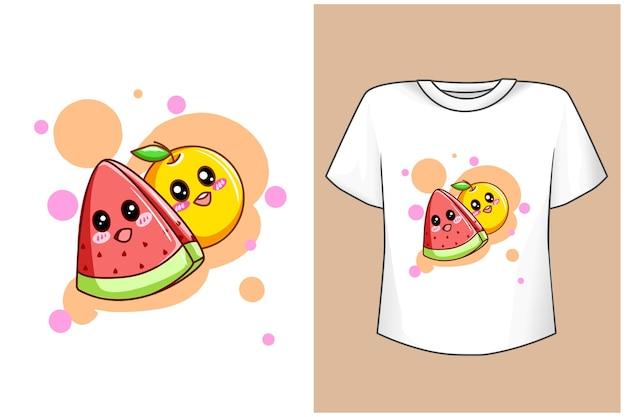 모형 귀여운 오렌지와 딸기