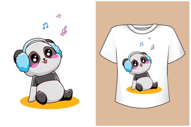 Mockup cute panda with music