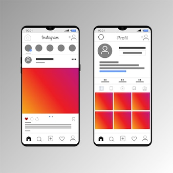 Mockup the display of pos instagram with a smartphone