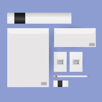 기업의 정체성 템플릿 및 브랜딩 테마의 모형 봉투 연필 및 카드 디자인