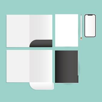 기업 정체성 템플릿 및 브랜딩 테마의 모형 파일 및 스마트 폰 디자인