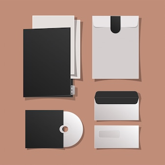 Mockup folder cd and envelopes